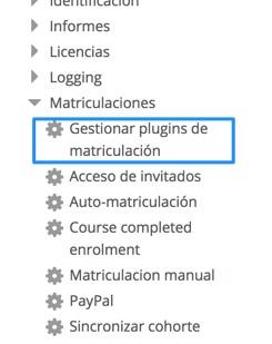 Gestionar plugins de matriculación
