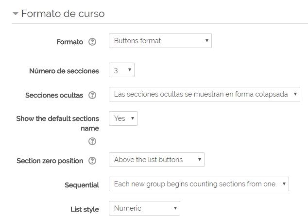 Imagen de la configuración del formato botón